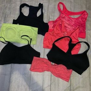 Bundle of 7 small sports bras. Used condition